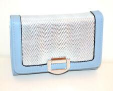 Portefeuille bleu argent  femme faux cuir portemonnaie clutch bag zip scarf G38