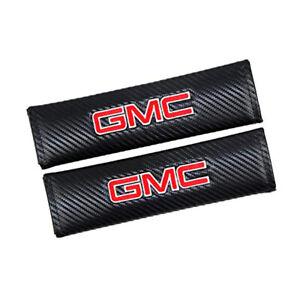 2x GMC Black Fiber Car Seat Belt Cover Shoulder Pads SIERRA YUKON DENALI Carbon