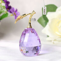 Light Purple Gold Metal Crystal Pear Paperweight Ornament Home Decor Gift Box