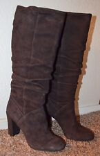 "NEW ~ NINE WEST Women Brown Suede Tall Mid Calf Boots / Size 7 m / 3-3/4"" Heel"