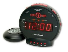 Vibrating Loud Sonic Boom Alarm Clock For Deaf Hearing Bed Shaker Impaired Lcd