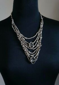 NEW UNO De 50 Grey ELements Crystal ARMONICA 2 Sided Long Bib Statement Necklace