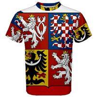 New Czech Republic Coat of arms Sublimated Mens Sport Mesh T-Shirt  XS-3XL