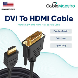 DVI-D To HDMI Male To Male Cable Gold 24+1 HDTV PC Display Wire Monitor 1.5-25FT