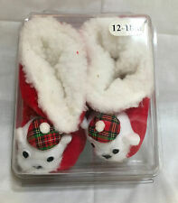 WHITE BEAR CORDUROY SLIPPERS with SHERPA LINING  size 12-18 months
