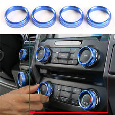 Blue Fit For Ford F150 2016 Air Conditioner & Audio Switch Decor Ring Cover Trim