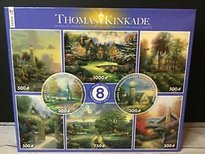 8 THOMAS KINKADE COLLECTORS EDITION CEACO JIGSAW PUZZLES COMPLETE MINT FREE SHIP