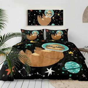 Sloth Space Moon Planet Animal King Queen Twin Quilt Duvet Pillow Cover Bed Set