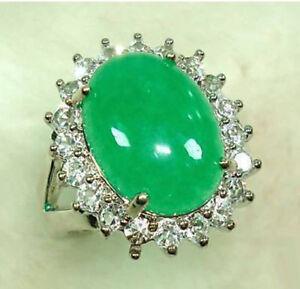 Green Jade 18KWGP Cubic Zirconia Ring size: 6.7.8.9