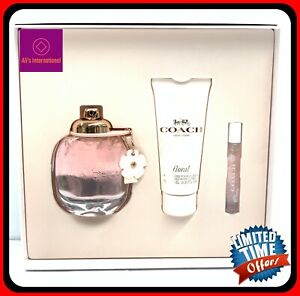 Coach New York Floral 3pc Set Women 3.0oz EDP Spray+3.3oz Body Lotion+MiNI