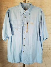 Natural Gear FISHING OUTDOORS Shirt Men's Size Med M Blue Short Sleeve Vents EUC