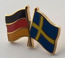 Germany & Sweden Friendship Flags Gold Plated Enamel Lapel Pin Badge