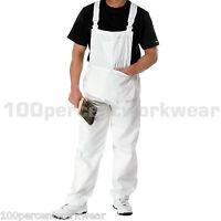 FFTJ PC186 White Painters Decorators Bib + Brace Overalls Dungarees Coveralls