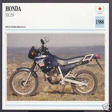 1988 Honda NX 250cc (239cc) Japan Bike Motorcycle Photo Spec Sheet Info Card