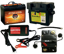 """VMAX857 12V AGM Battery, Charger, U1 Box, 9"""" Cables, Circuit Breaker Marine Use"""