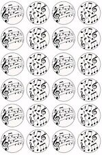 24 x MUSIC NOTES Wafer Rice Paper Cupcake Toppers EDIBLE MUSICAL CAKE DECORATION