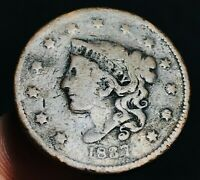 1837 US Large Cent Coronet Head 1C Ungraded Good Date Worn US Copper Coin CC2583