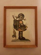 """Vintage Hummel """"School Girl"""" Print in Original Frame"""