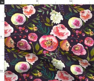 Spring Floral Purple Flowers Plum Summer Spoonflower Fabric by the Yard