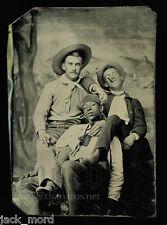 Intriguing Tintype Photo - White Men Cowboy & Black Man - Very Unusual - Gay Int