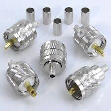 5pcs PL259 Crimp Plug, Male for RG58 LMR195 URM76, UHF Plug