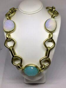 Steve Vaubel Large Link Necklace with Beautiful Stones