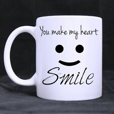 Details about  Romantic Gift For Your Lover You Make My Heart Smile Ceramic Coff
