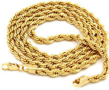 "Mens 14K Yellow Gold Plated 4mm Rope Chain Necklace 24"" Free Shipping USA SELLER"