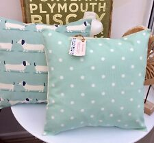 CUSHION COVER COTTON FABRC  DUCK EGG BLUE SPOTTY POLKA DOTS DOTTY EASTER B  16 a