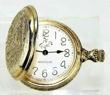 WESTCLOX Pocket Watch Cowboy Saddle Hunting Case Wyoming Horse Rare Vintage USA