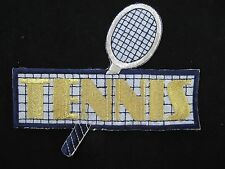 2683 Golden,Silver Tennis Racket w/TENNIS word Embroidery Iron On Applique Patch