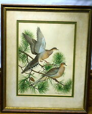 Beautiful Old / Vintage Framed Drawing - Birds In Tree - Margaret R Blair