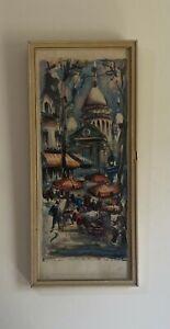 "Marius Girard Signed Watercolor print ""Paris La Place du Tertre"""