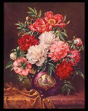 """VINTAGE 1950 """"PEONIES"""" ART PRINT BY GEORGE HINKE (FLOWERS FROM HIS OWN GARDEN)"""