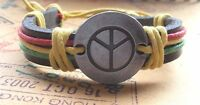 Peace Bracelet Strand Layer Cord Knot Surfer Cuff Slider Boho Hippie Festival