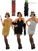 Charleston Flapper Fancy Dress Ladies 1920s Roaring 20s Costume + Holder + Boa