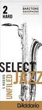 1 Box of 5 D'Addario/Rico Select Jazz Reeds Unfiled. Baritone/Bari Sax 2-Hard 2H