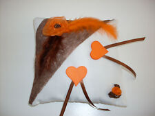 Coussin mariage pour alliances chocolat et orange