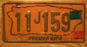 SINGLE PUERTO RICO LICENSE PLATE - 1973 - 11J159