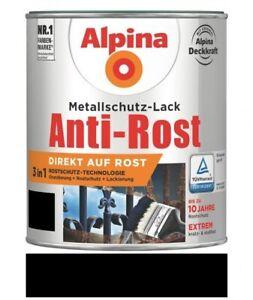 Alpina Metallschutz-Lack Anti-Rost Glänzend 2,5 L RAL 9005 Schwarz
