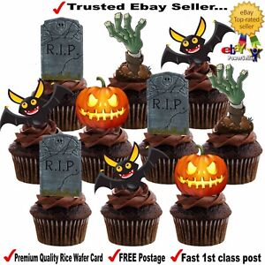 24 HALLOWEEN Bat Pumpkin Tombstone STAND UP Edible Wafer Card Cup Cake Toppers