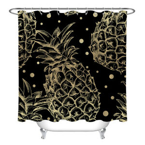 "72"" Tropical Fruits Pineapple Black Fabric Shower Curtain Set Bathroom w/ Hooks"