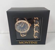 Montine Ladies Blue Fabric Gold Coloured Jewellery Set Gem Watch Bracelet J12