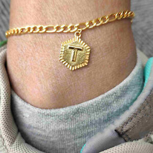 Hexagon Alphabet Anklets For Women Stainless Steel Foot Jewelry Feet Chain