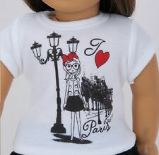 "Paris T Shirt for 18"" American Girl & Bitty Baby Doll Clothes Widest Selection!"