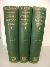 The Poetical Works of William Cowper 3 Volumes Set 1865 with notes by John Bruce