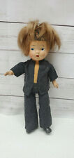 "Antique Composition Dutch Farm Amish Boy Doll 9.5"" Blue Eyed Mohair"