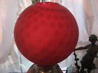 "GWTW 10 "" LAMP GLOBE SATAN RUBY DOT OPTIC   GLASS 4"" FITTER 9 1/2 h SHADE"