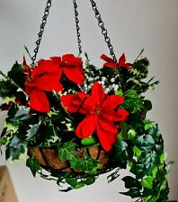 Poinsettia Christmas Winter Artificial Large Hanging Basket Flowers Ivy Etc