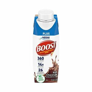 Nestle Boost Plus Balanced Nutritional Drink Chocolate 8 oz Carton 24 Ct